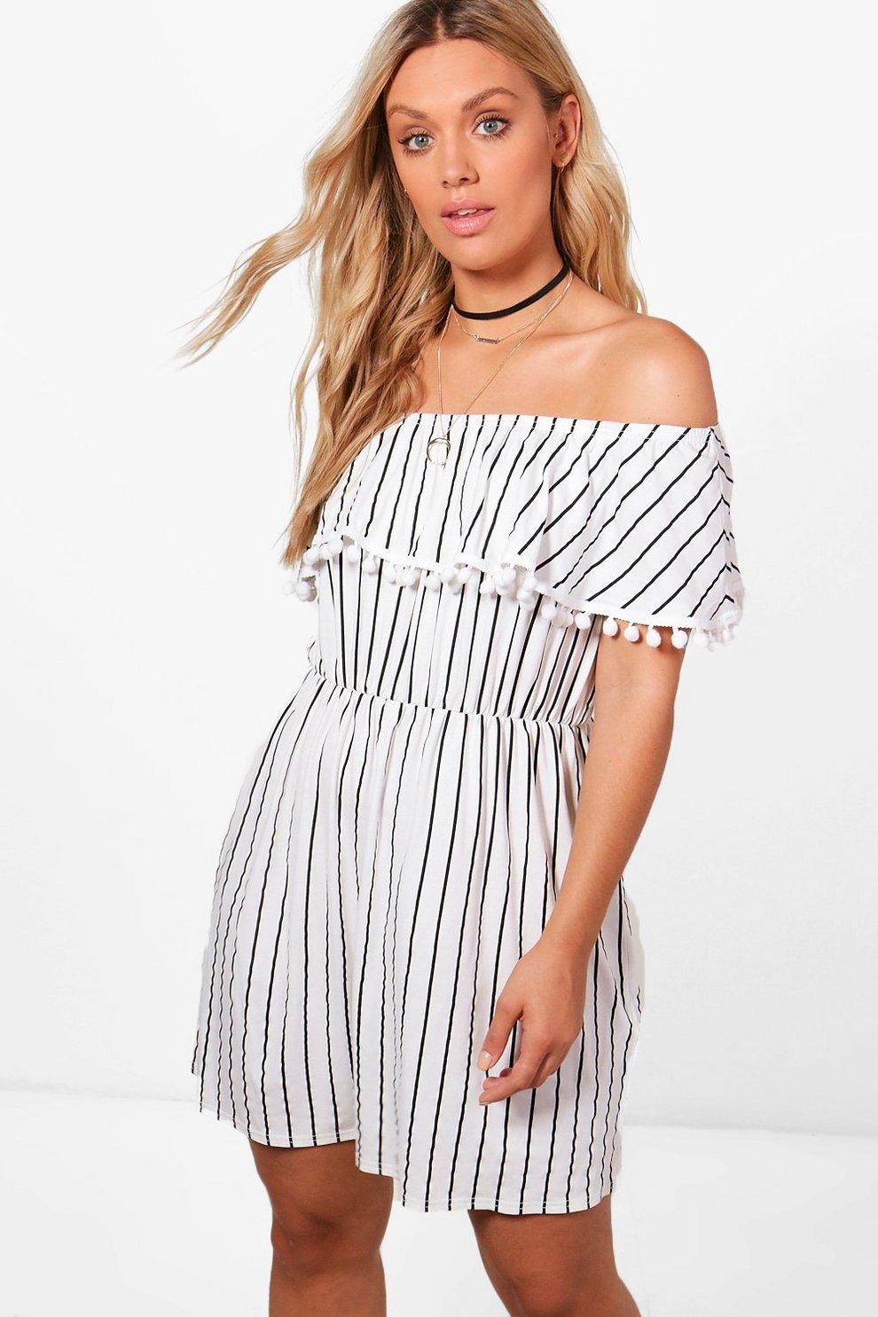 d185b835e6c9 Plus Kirsten Pom Pom Trim Stripe Bardot Dress | Boohoo