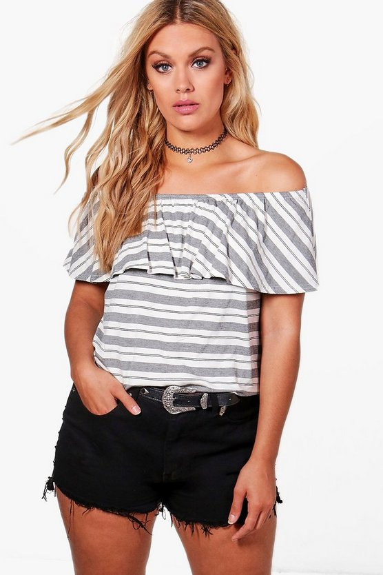 Plus Kat Stripe Off The Shoulder Layered Top