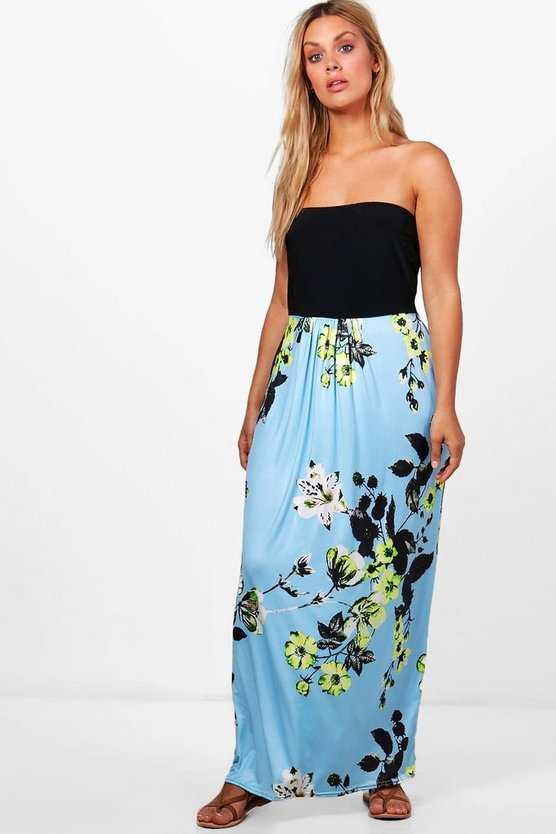 Plus Sadie Floral Contrast Printed Maxi Dress