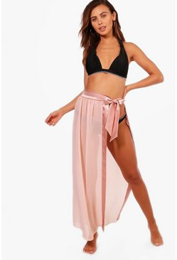 Womens Blush Petite Satin Tie Beach Sarong