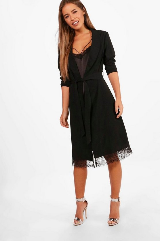 Petite Charis Lace Trim Belted Shaw Collar Duster