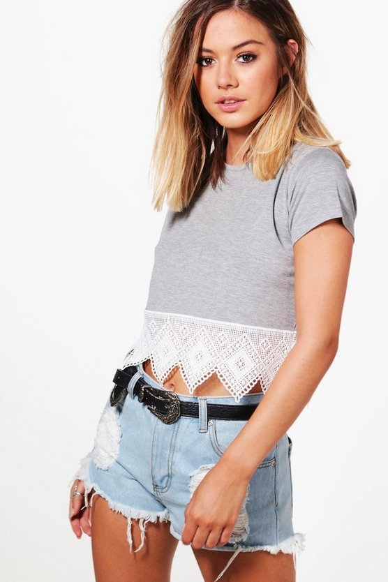 Petite Rita Crochet Hem Trim Crop Top