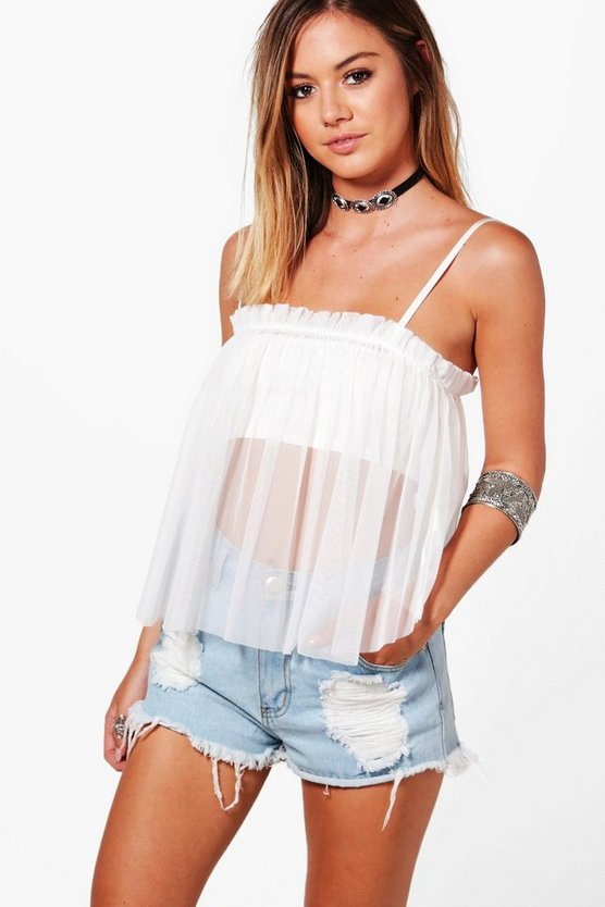 Petite Sara Mesh Gathered Cami Top