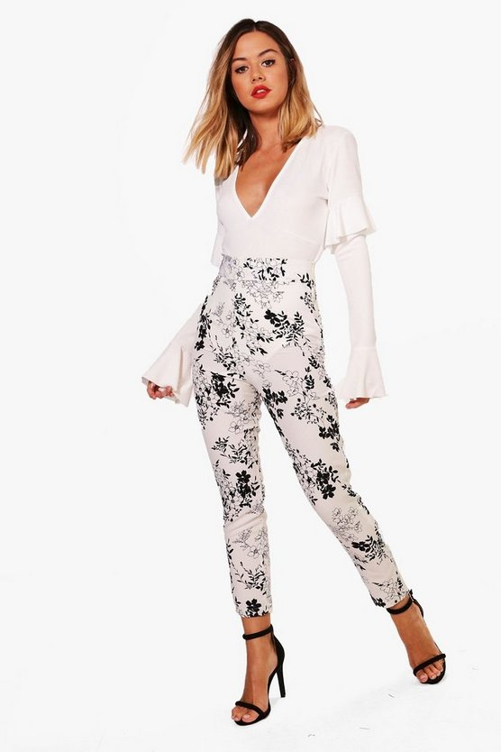 Petite Kara High Waisted Side Zip Tapered Trouser