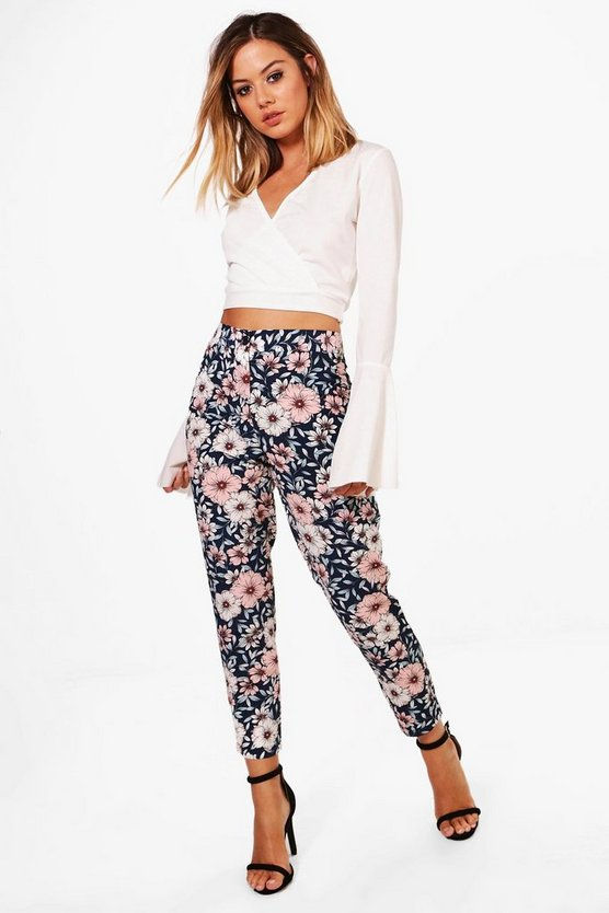 Petite Floral Print Woven Tapered Trouser