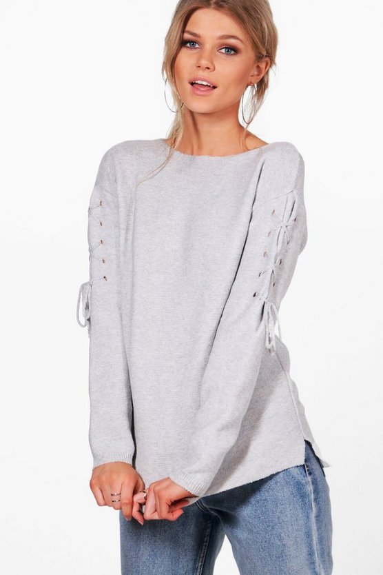 Petite Louise Lace Up Sleeve Oversized Jumper