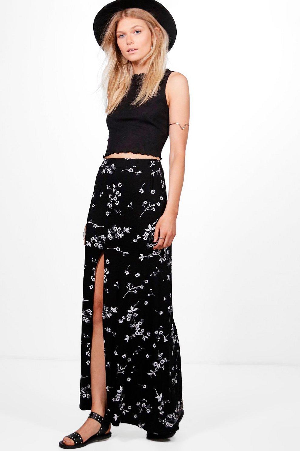 58c62b84aa Petite Leanne Dark Floral Split Maxi Skirt | Boohoo
