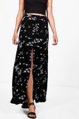 e434a43ab3 ... Womens Multi Petite Leanne Dark Floral Split Maxi Skirt alternative  image