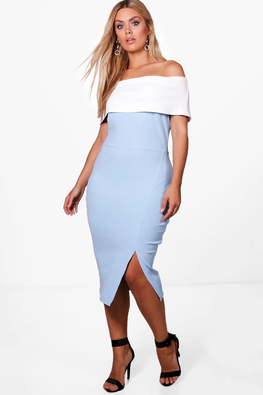 Boohoo-Plus-Alex-Robe-Moulante-Contrastee-A-Epaules-Denudees-pour-Femme
