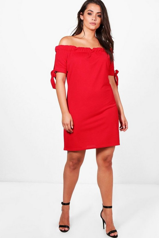 Womens Red Plus Jess Off The Shoulder Tie Sleeve Dress