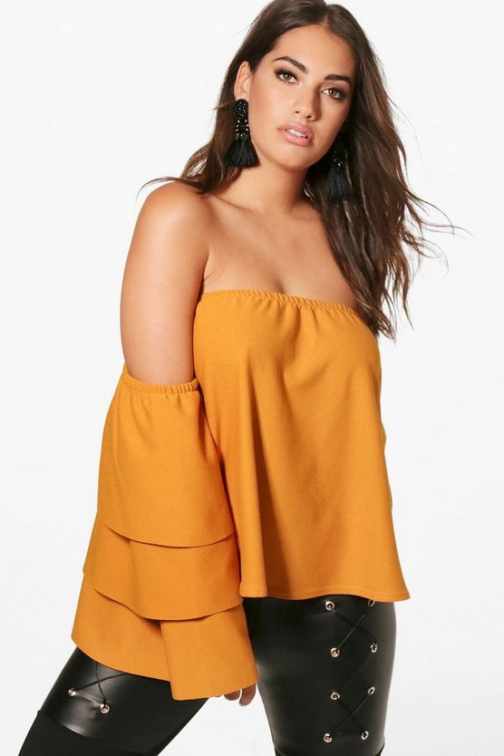 Plus Kerry Off The Shoulder Ruffle Sleeve Top