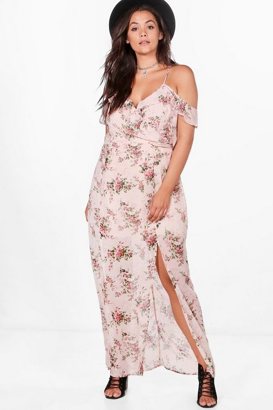 Plus Tabitha Open Shoulder Floral Maxi Dress