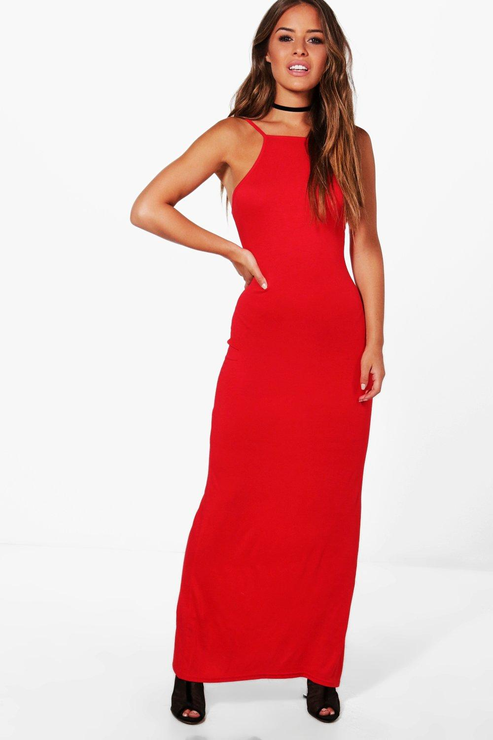Petite Emma High Neck Basic Maxi Dress Boohoo Hover To Zoom
