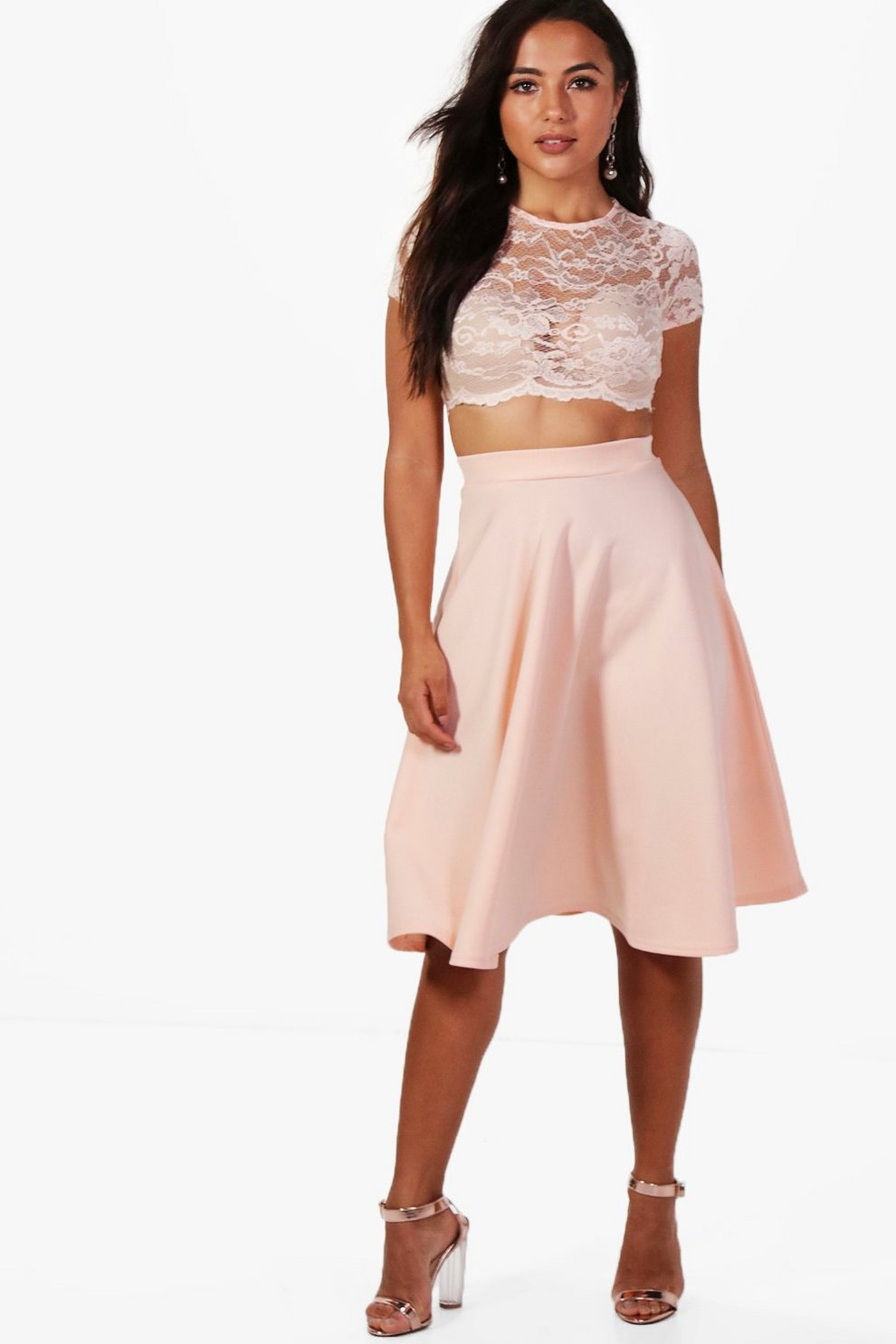 679e9afd1c Petite Natasha Lace Crop and Full Midi Skirt Co-ord | Boohoo