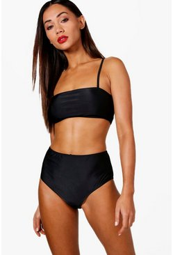 Petite  Bandeau Strappy High Waisted Bikini, Black