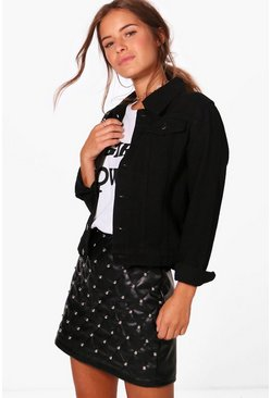 Black Petite  Western Denim Jacket