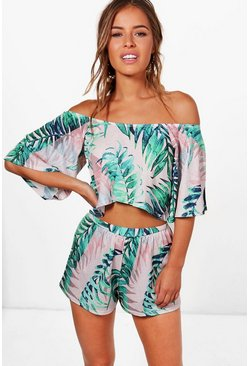 Womens Multi Petite  Off The Shoulder Top and Short Co-ord