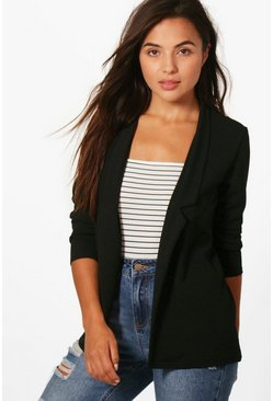 Petite  Notch Detail Oversized Boyfriend Blazer, Black