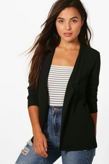 Womens Black Petite Notch Detail Oversized Boyfriend Blazer