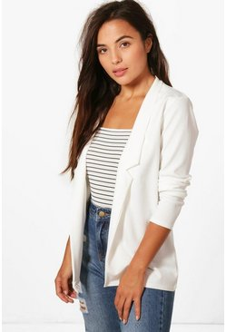 Petite  Notch Detail Oversized Boyfriend Blazer, Ivory, Donna