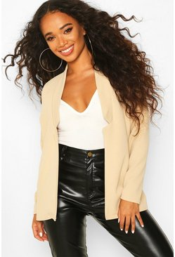 Stone Petite  Notch Detail Oversized Boyfriend Blazer