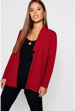 Wine Petite  Notch Detail Oversized Boyfriend Blazer