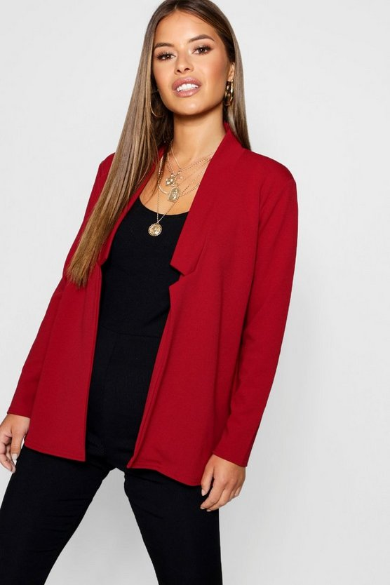 Petite Notch Detail Oversized Boyfriend Blazer