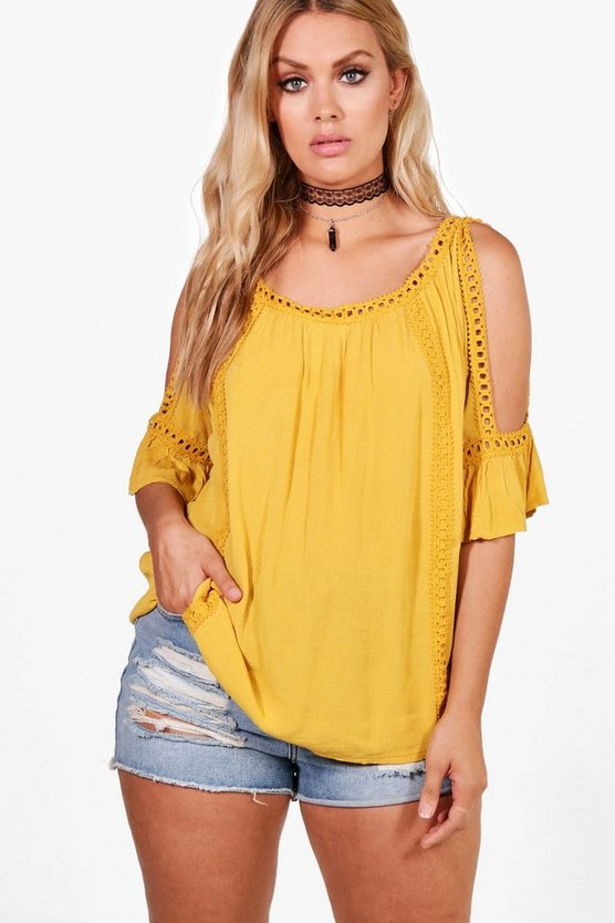 Plus Cold Shoulder Crochet Trim Top