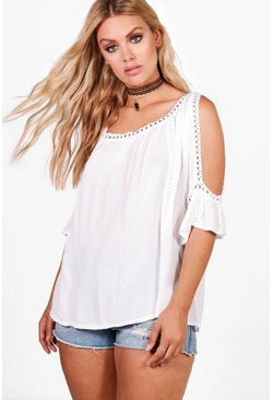 Womens White Plus Cold Shoulder Crochet Trim Top