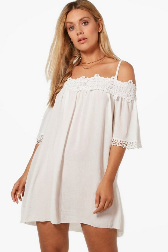 Plus Tara Cold Shoulder Crochet Trim Shift Dress