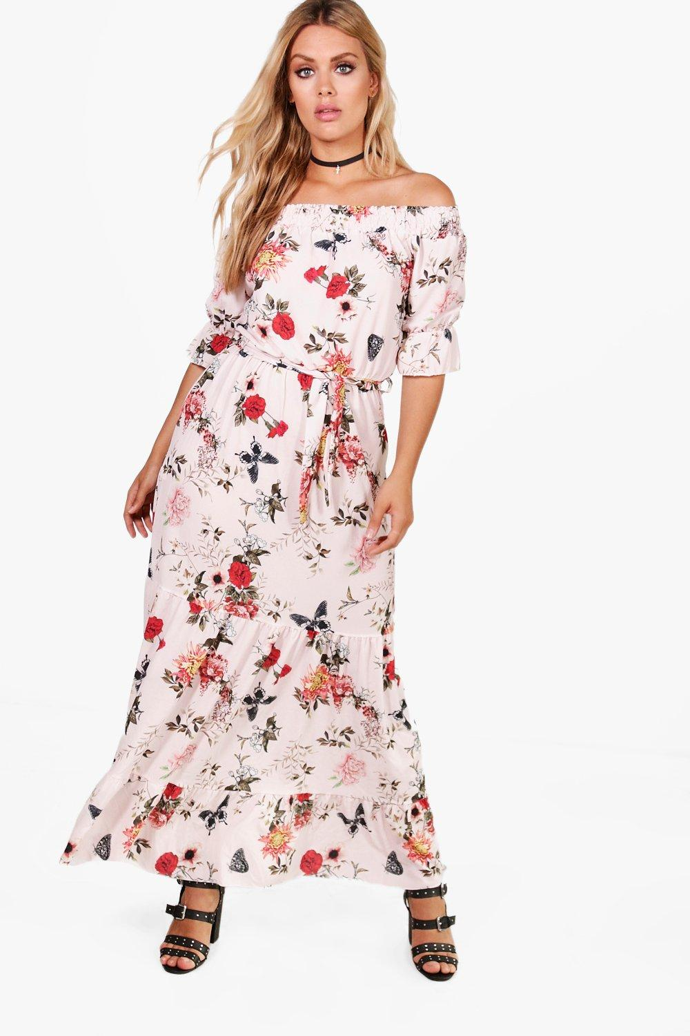 Plus Emma Off The Shoulder Tiered Floral Maxi Dress Boohoo