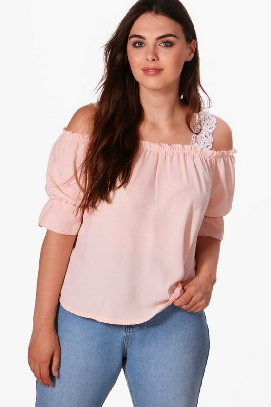 Plus Kate Off The Shoulder Lace Insert Top