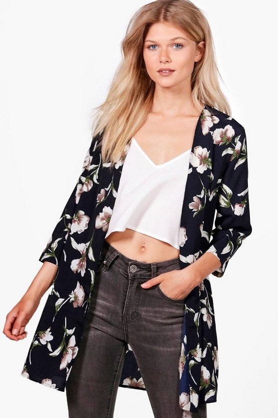 Petite Caitlin Floral Woven Duster Jacket