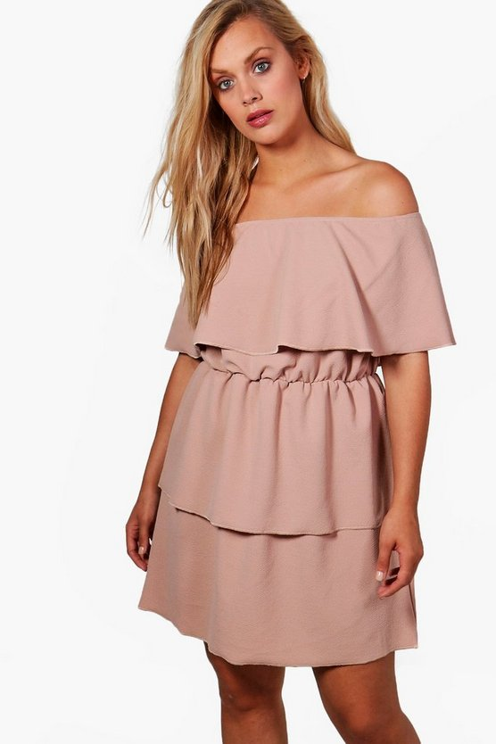 Plus Casey Off The Shoulder Ruffle Dress