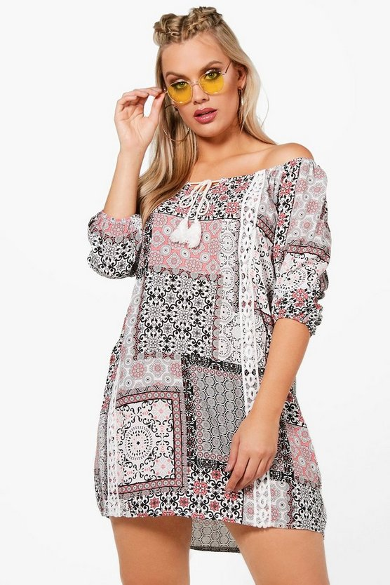 Plus Loren Printed Crochet Off The Shoulder Dress