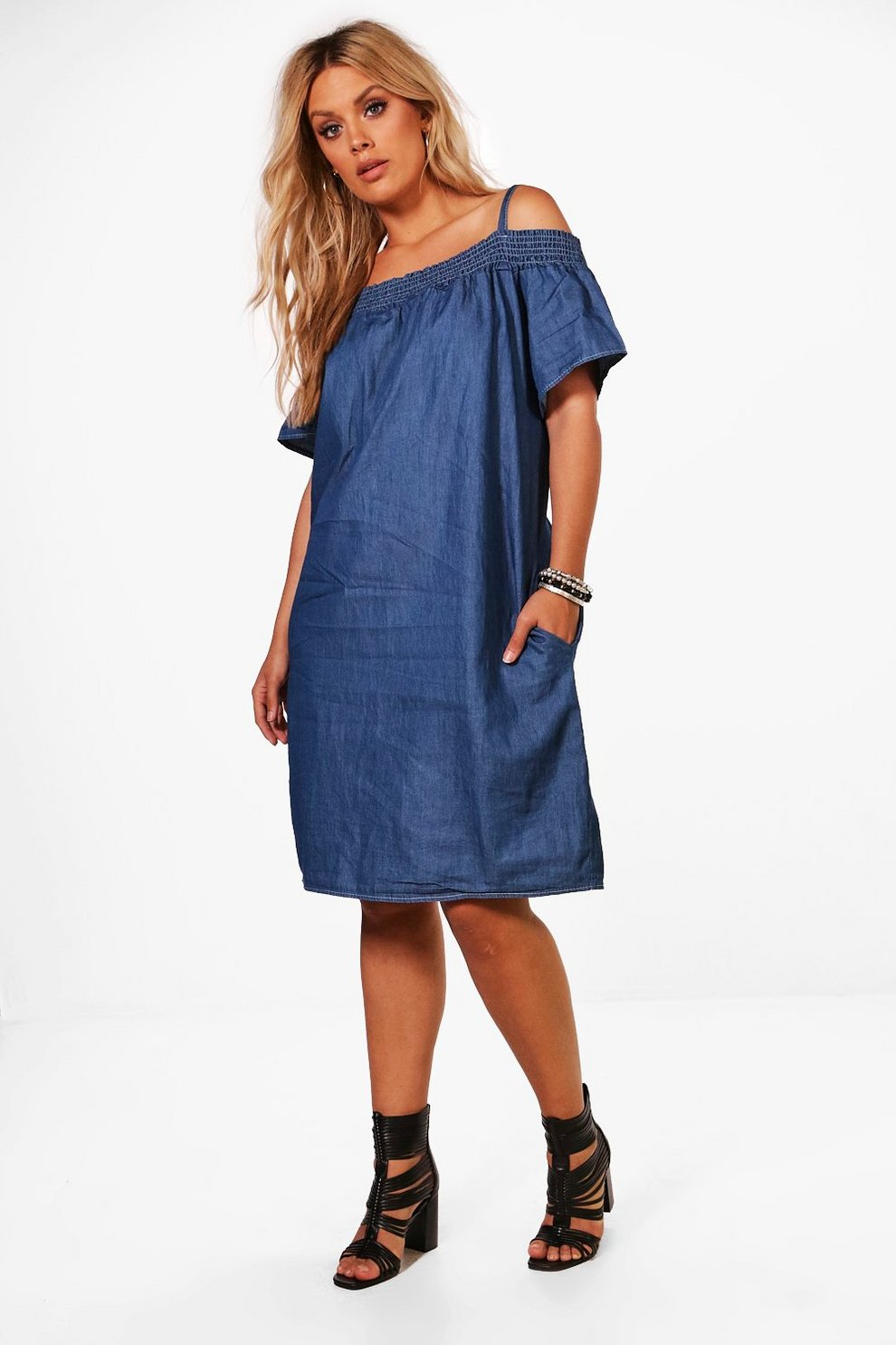 be6d99f18efe Plus Liv Off The Shoulder Chambray Frill Sleeve Dress