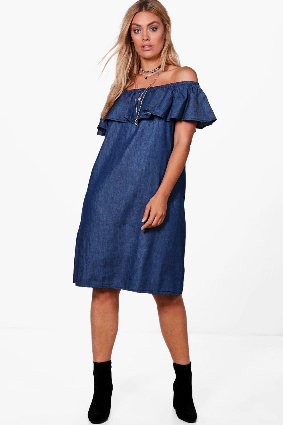 ab38b7f3e40a Plus Katie Off The Shoulder Denim Dress