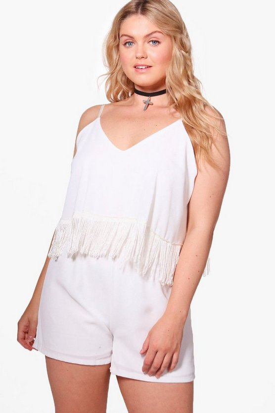 Plus Yasmin Tassel Trim Playsuit
