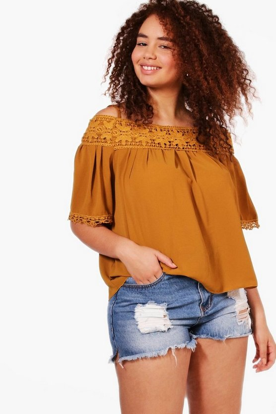 Plus Nicole Cold Shoulder Crochet Trim Top