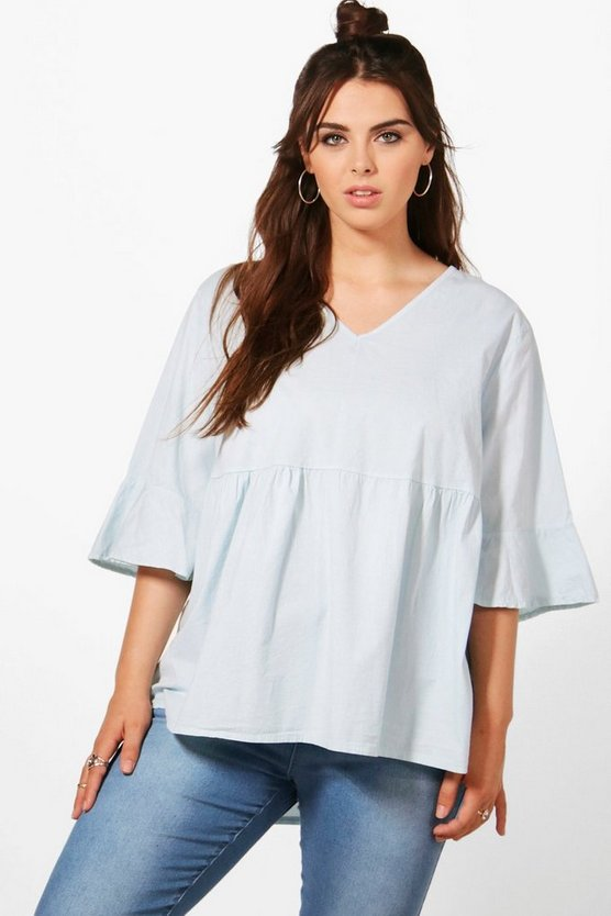 Plus Annie Frill Sleeve Woven Top