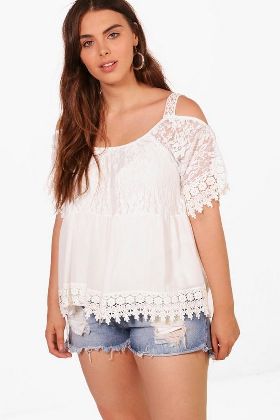 Plus Neve Heavy Embroidered Cold Shoulder Top