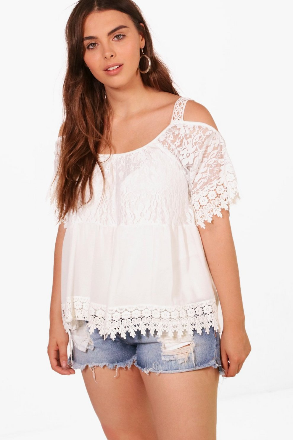 6d6149ea5c568 Plus Neve Heavy Embroidered Cold Shoulder Top