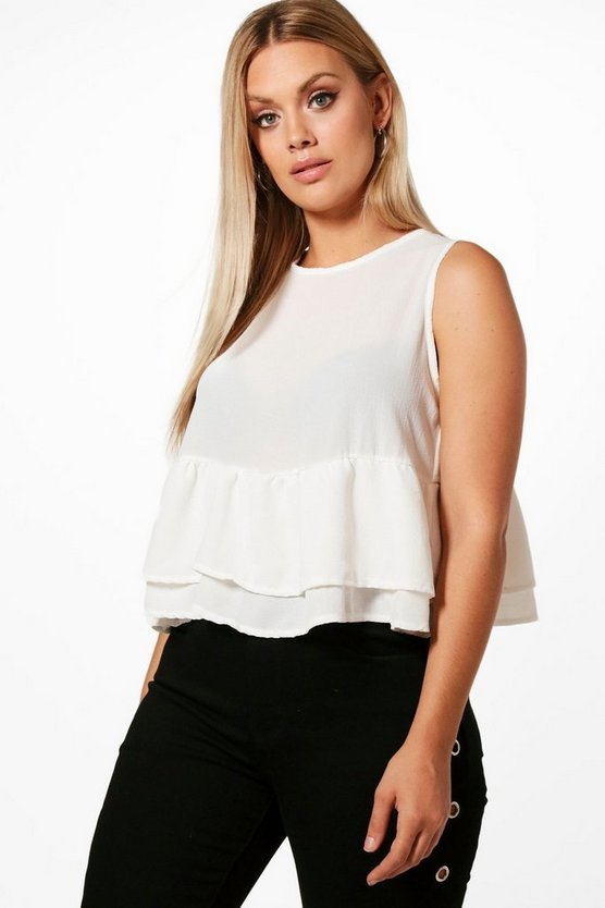 Plus Lottie Ruffle Hem Sleeveless Top