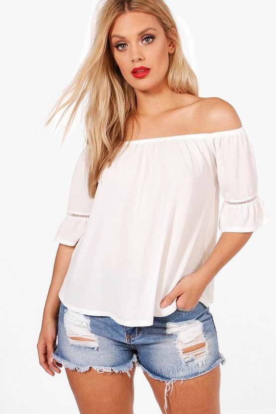 Plus Ellie Embroidered Off The Shoulder Top