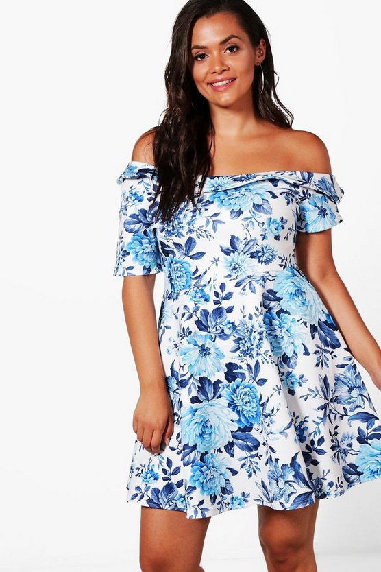 Plus Bella Floral Off The Shoulder Skater Dress