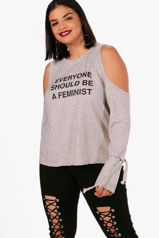 Plus Emma Feminism Open Shoulder Sweat Top