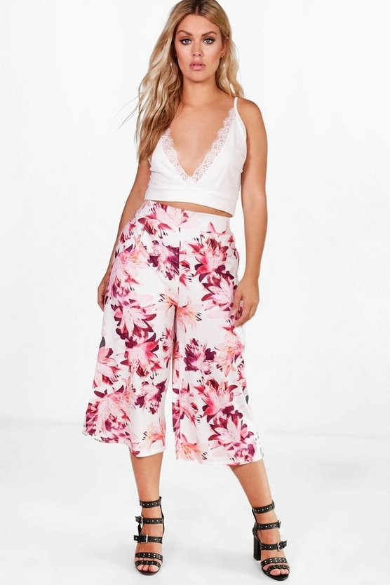 Plus Kirsty Slinky Floral Culotte Trouser