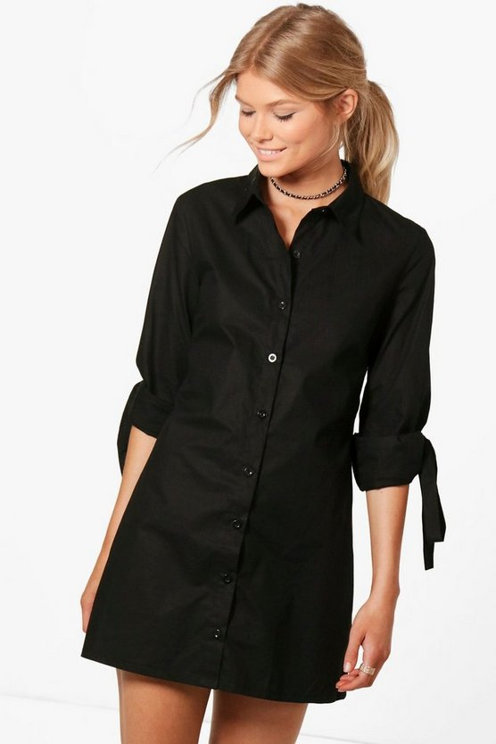 Womens Black Petite Lilian Tie Sleeve Shirt Dress