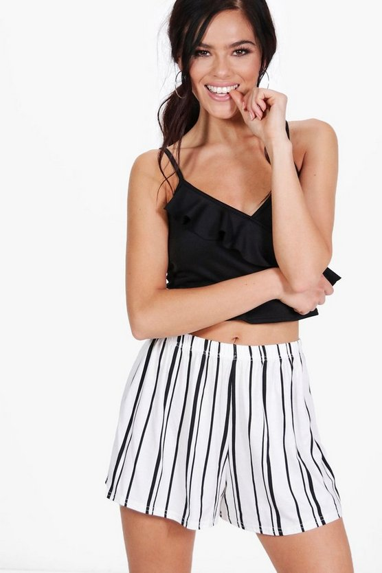 Petite Hannah Striped Jersey Shorts