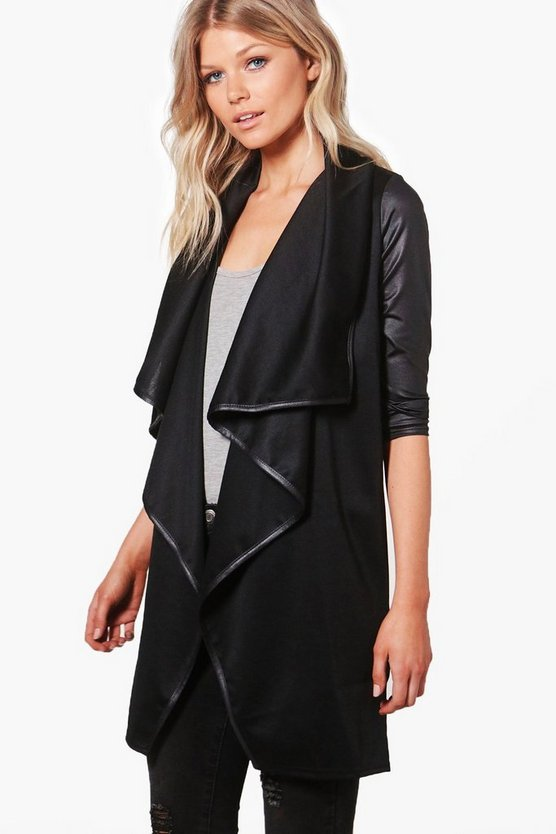 Petite Malin Contrast Trim Waterfall Duster